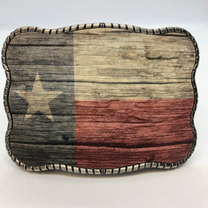 Wood Grain Print Texas Flag