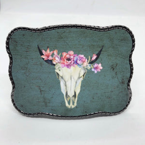 Pink Floral Cow Skull on Turquoise