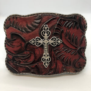 Maroon Floral Embossed Leather with Cross Pendant