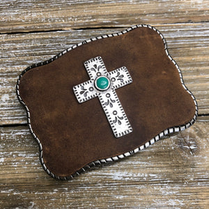 Brown Leather with Turquoise Cross