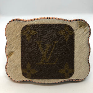 Authentic LV swatch on Metallic Cowhide