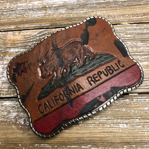 Hand Tooled Leather - California Flag
