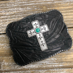 Black Embossed Leather with Turquoise Cross