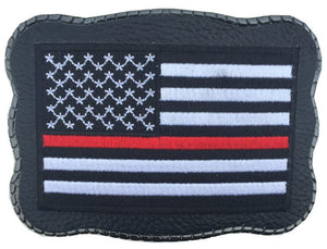 Red Line Patch on Leather