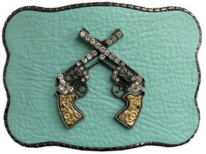 Pistols on Turquoise Leather
