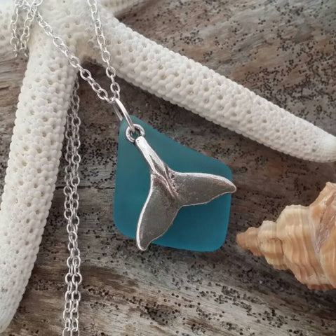 Handmade in Hawaii Teal Sea Glass necklace Whale tail charm SS Chain Valentine