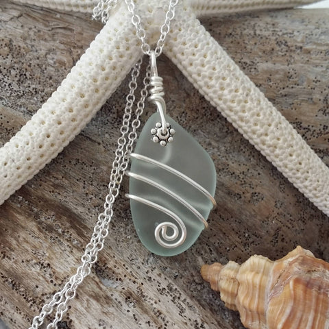 Design and handmade in Hawaii, Wire wrapped seafoam sea glass necklace, Sterling silver chain
