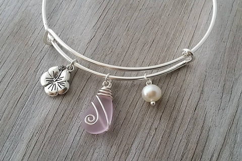 Handmade In Hawaii Wire Wrapped Pink Sea Glass Bracelet Hibiscus