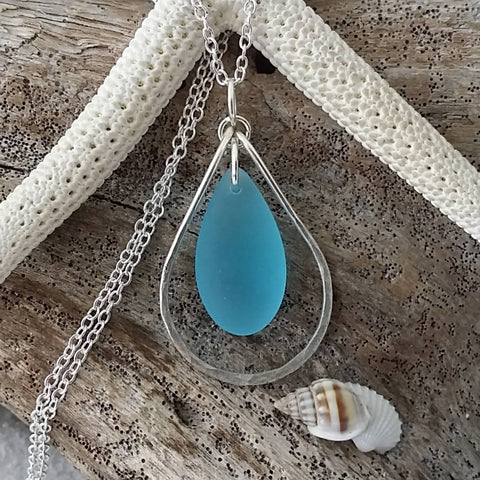 Handmade in Hawaii, wire loop Turquoise Bay blue sea glass necklace, Sterling silver chain