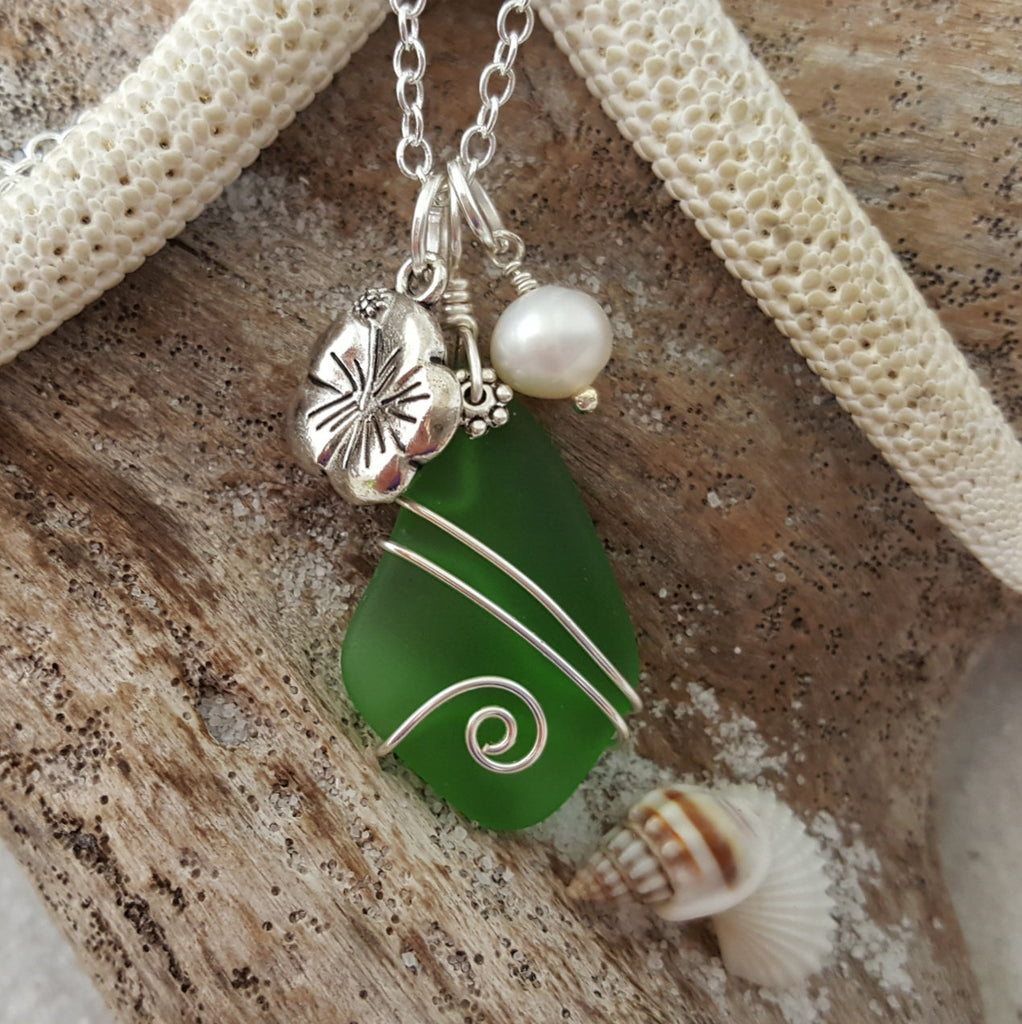 Patrick/'s Day Jewelry May Birthstone Gift Sterling Silver Bali 925 Sea Glass Recycled Boho Emerald Green Necklace Wire Wrapped Beaded St