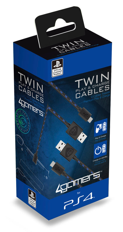 4Gamers Twin Play & Charge Cables (2 x 2m) 4G-C10