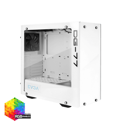 EVGA DG-77 Midi Tower with Tempered Glass - Alpine White - 176-W1-3542-KR - Core Components by Evga The Chelsea Gamer
