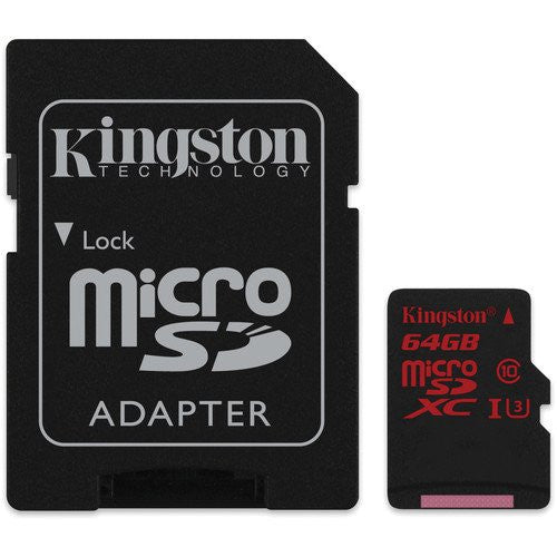 Kingston 64 GB microSDXC - Class 3/UHS-I - 90 MB/s Read - 80 MB/s Write