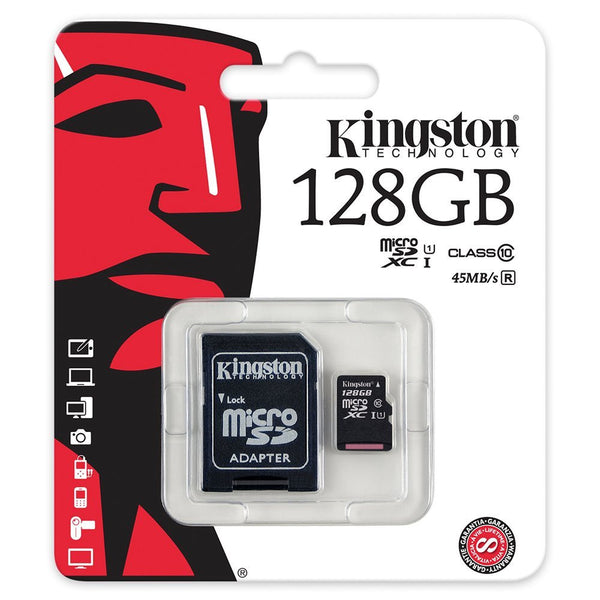 Kingston 128 GB microSDXC - Class 10/UHS-I - 45 MB/s Read - 10 MB/s Write - Retail
