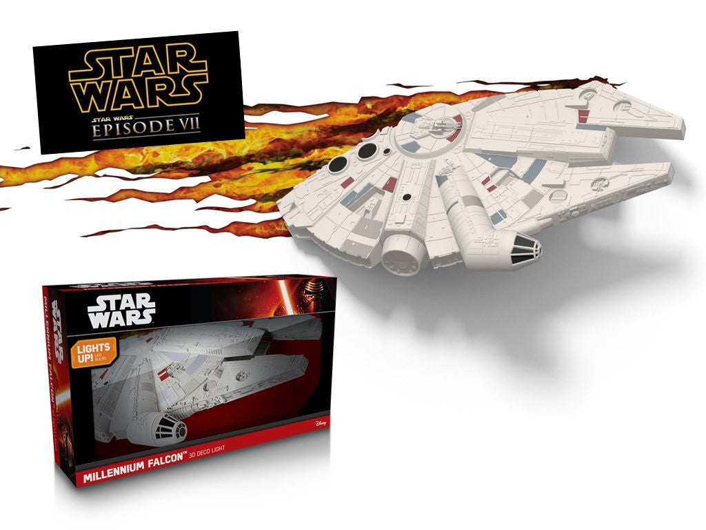 3D Light FX 50034 Star Wars Millennium Falcon 3D Deco Light, Plastic, White/Grey/Cream - Kitchen by 3D Light FX The Chelsea Gamer