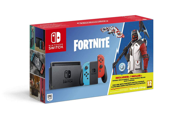 Nintendo Switch Neon Blue/Red Fortnite Edition with Fortnite Currency & Double Helix Bundle