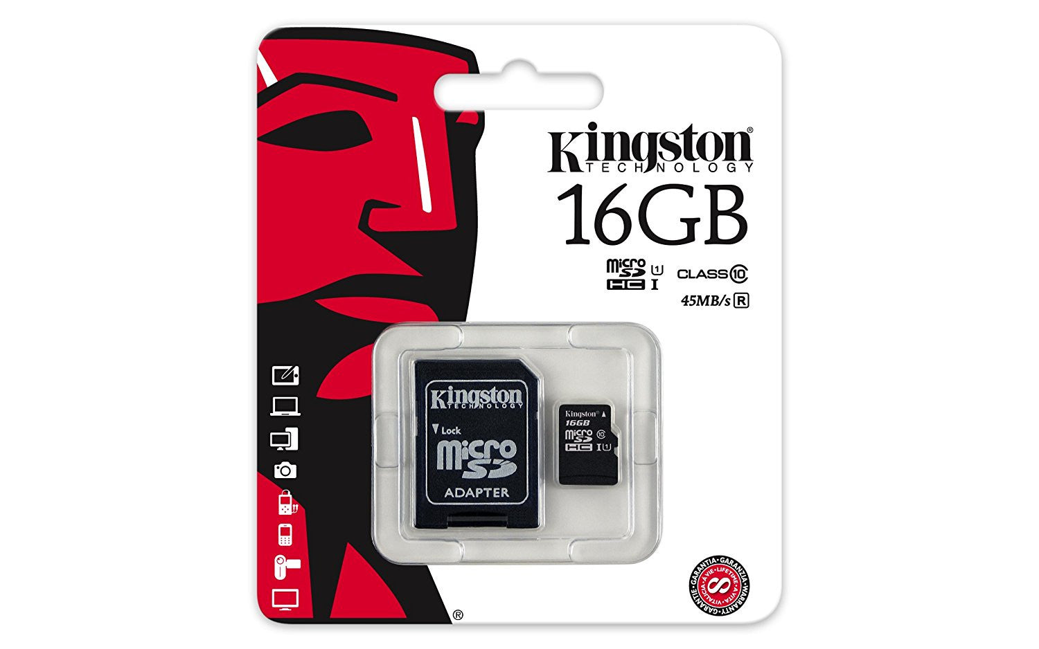 Kingston 16 GB microSDXC - Class 10/UHS-I - 45 MB/s Read - 10 MB/s Write - Retail