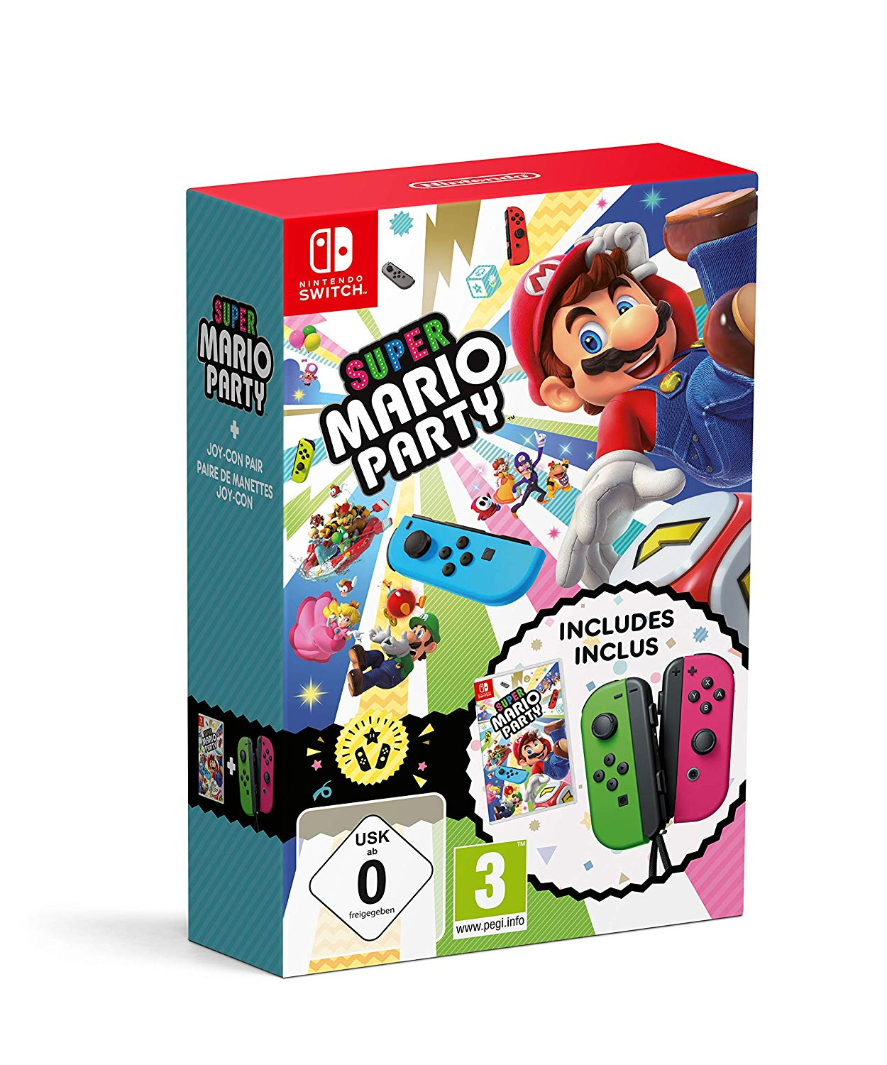 Super Mario Party & Neon Green / Pink Joy-Con Pair