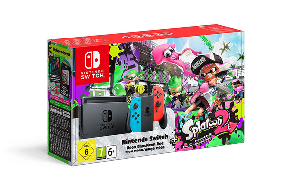 Nintendo Switch - Neon Red / Blue with Splatoon 2 - Console pack by Nintendo The Chelsea Gamer