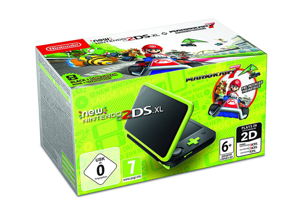 New Nintendo 2DS XL Black + Lime Green + Mario Kart 7
