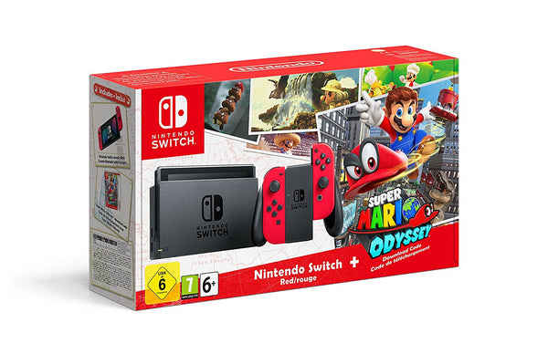 Nintendo Switch - Red with Super Mario Odyssey (code)