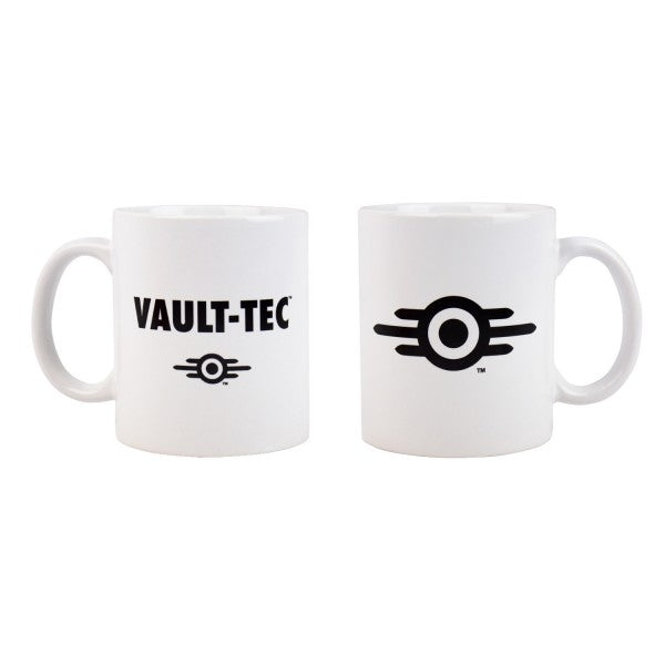Fallout Mug Vault-Tec Logo White - merchandise by Gaya The Chelsea Gamer