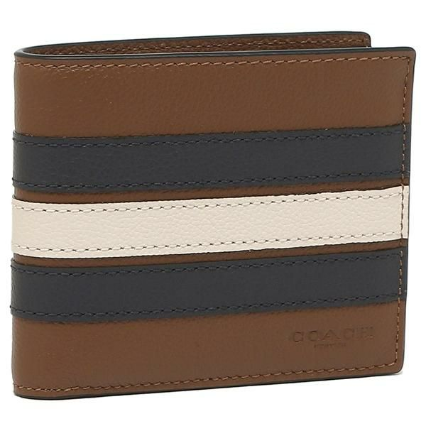 Coach Mens 3-IN-1 Wallet With Varsity Stripe (F24649) Saddle