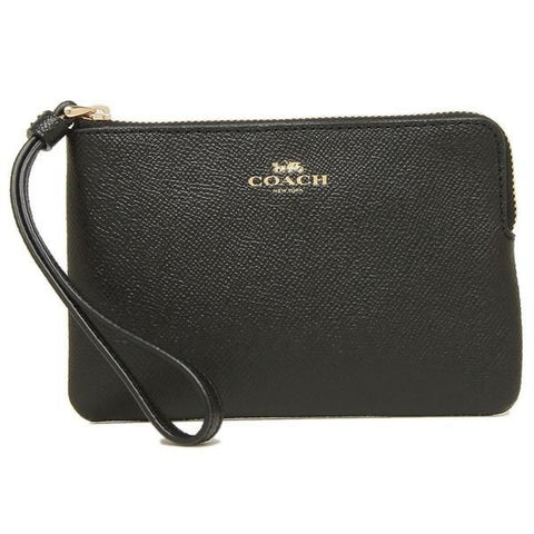 Coach Corner Zip Wristlet In Crossgrain Leather Black