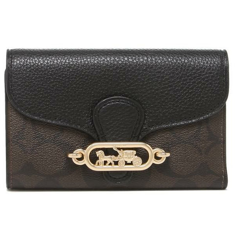 Coach Jade Medium Envelope Wallet In Signature Canvas Brown