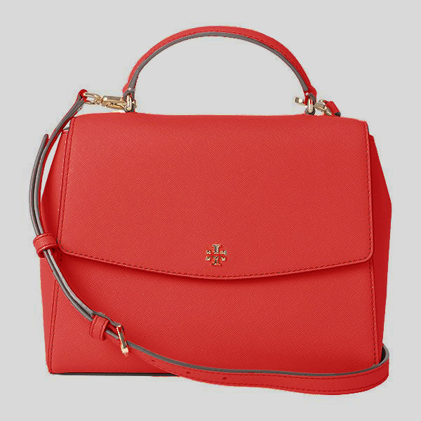 Tory Burch Emerson Structured Satchel Red