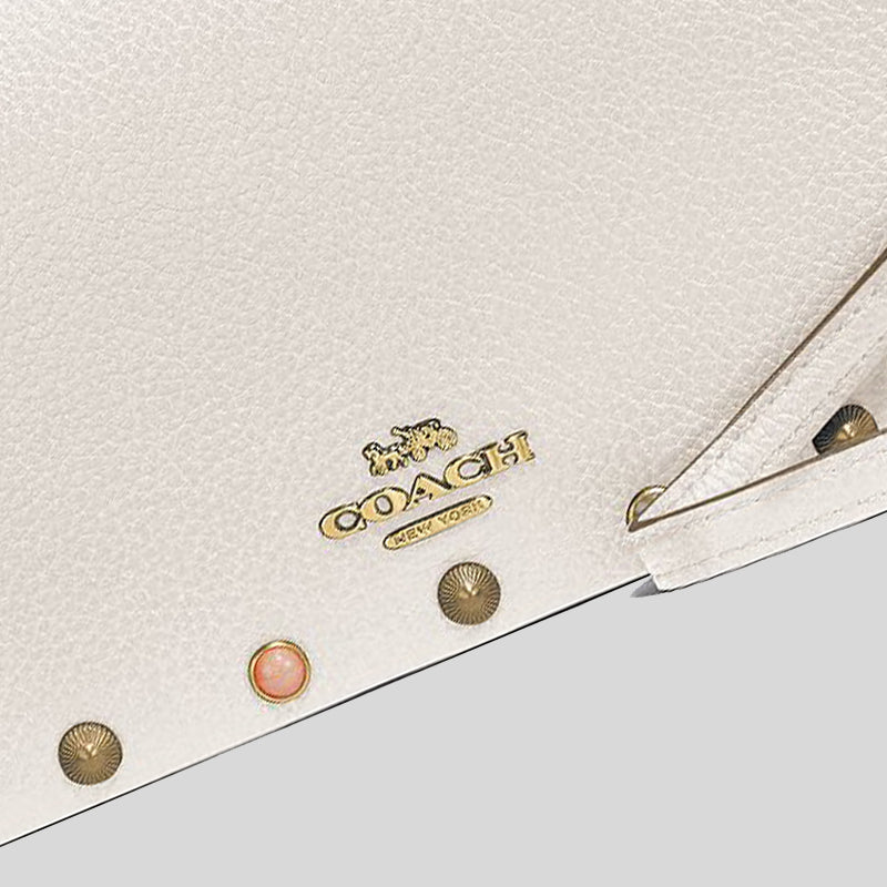 Coach Hayden Foldover Crossbody Clutch With Rivets Chalk 66613