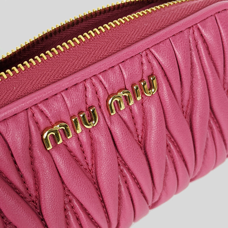 Miu Miu Matelassé Leather Key Holder Magenta 5PP026