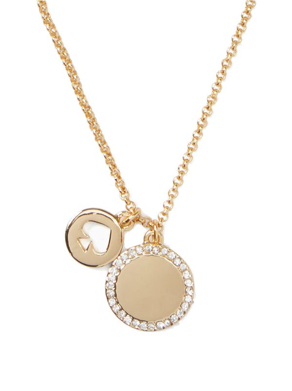Kate Spade Spot The Spade Pave Charm Pendant Necklace Gold