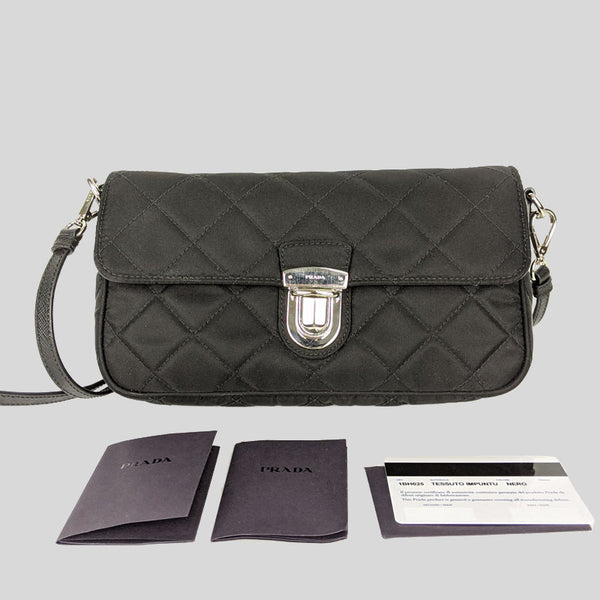 PRADA Tessuto Impuntu Crossbody Bag Nero 1BH025