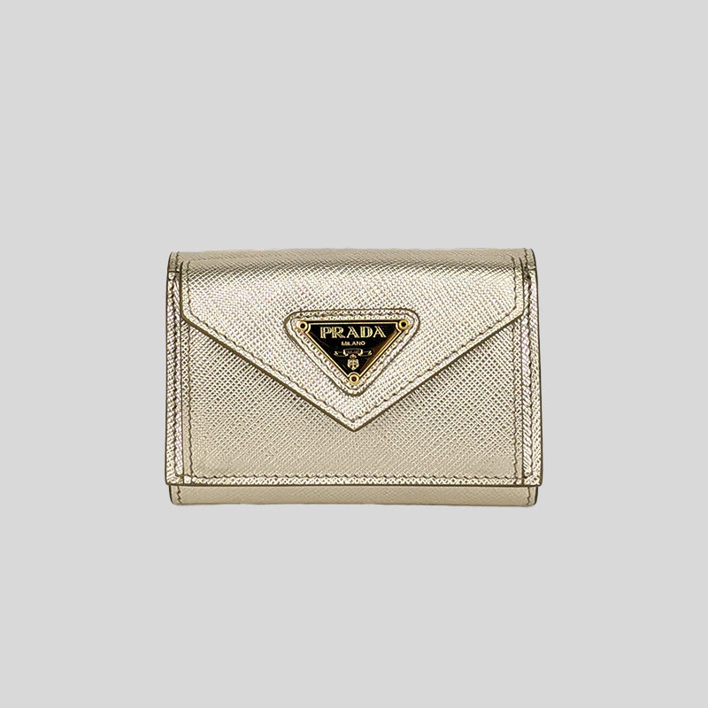 PRADA Saffiano Leather Mini Trifold Wallet Pirite IMH021