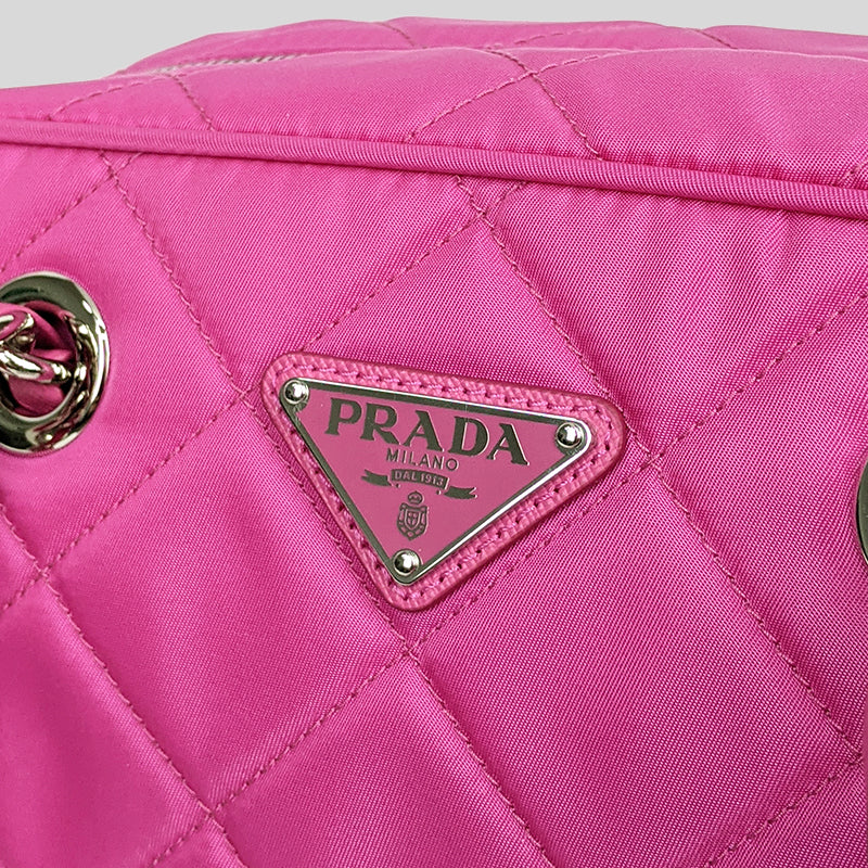 Prada Quilted Nylon Tessuto Impuntu Chain Shoulder Bag Fuxia 1BB072