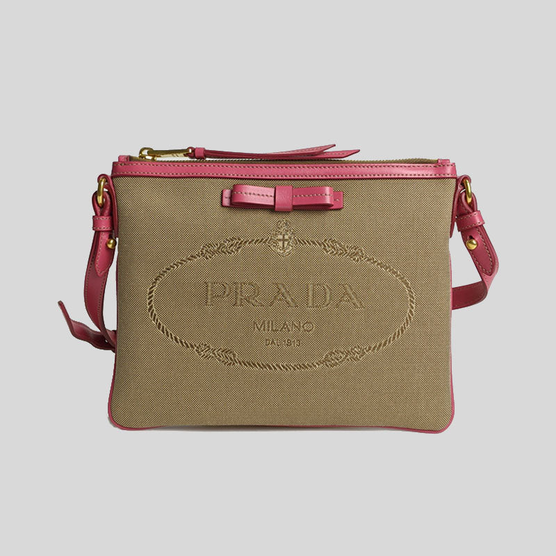 Prada Jacquard Fabric Leather Trim Logo Crossbody Handbag Corda + Peonia 1BH150