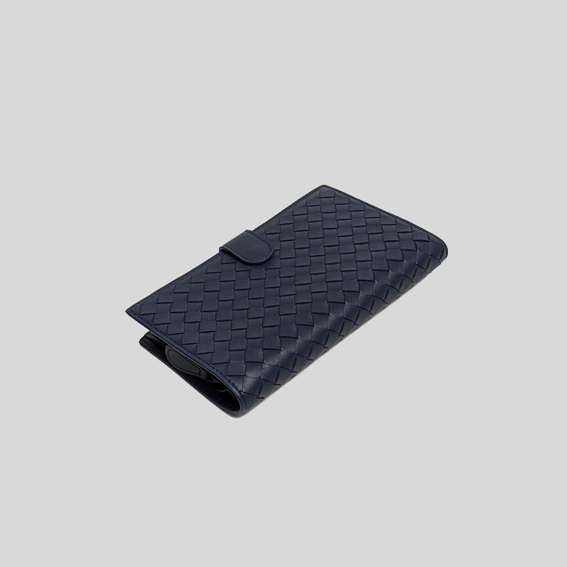Bottega Veneta Intrecciato Folded Long Bifold Wallet Blue 132357