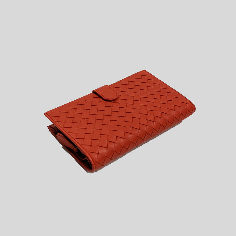 Bottega Veneta Intrecciato Folded Long Bifold Wallet Poppy 132357