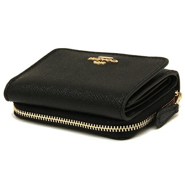 Coach Small Trifold Wallet In Crossgrain Leather Black
