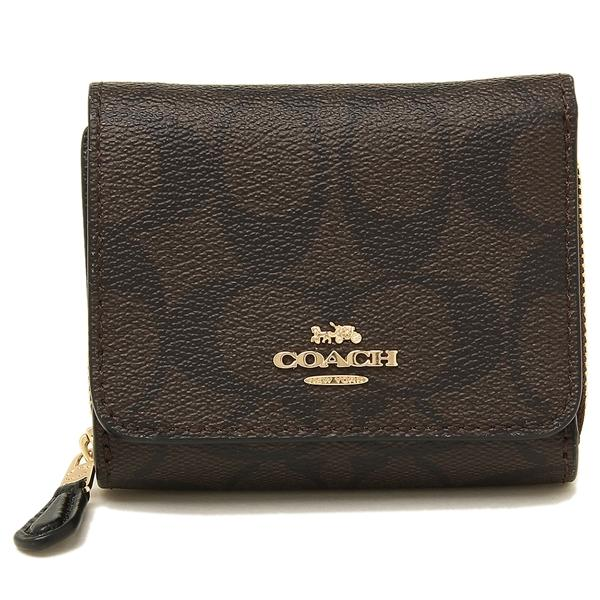 Coach Small Trifold Wallet In Signature Coated Canvas Dark Brown