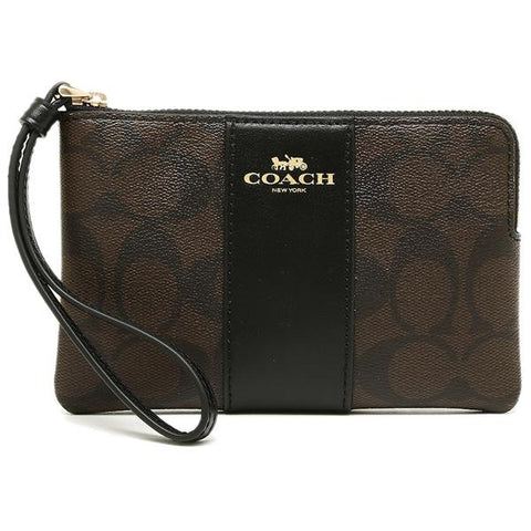 Coach Corner Zip Wristlet In Signature Coated Canvas With Leather Stripe Brown/Black
