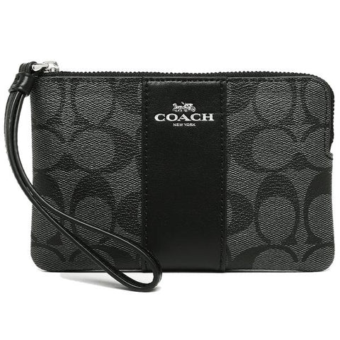 Coach Corner Zip Wristlet In Signature Coated Canvas With Leather Stripe Black