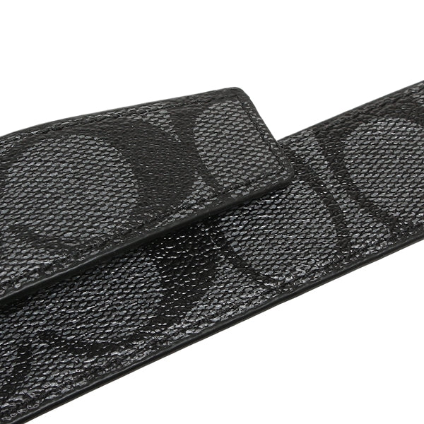 Coach Mens Dress Plaque Cut-To-Size Reversible Signature Coated Canvas Belt