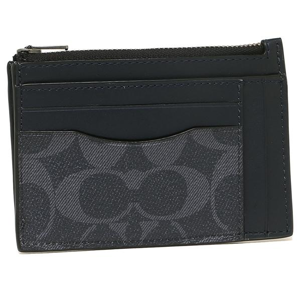 Coach Multiway Zip Card Case In Signature Canvas (F66649) Denim Black Antique Nickel