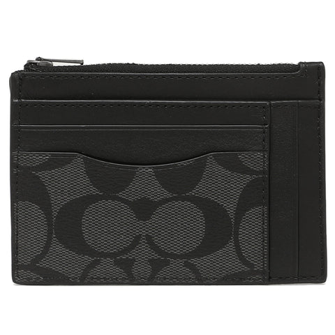 Coach Multiway Zip Card Case In Signature Canvas (F66649) Black