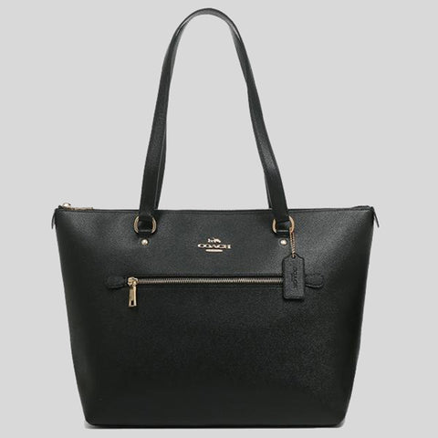 COACH Gallery Tote In Crossgrain Leather Black