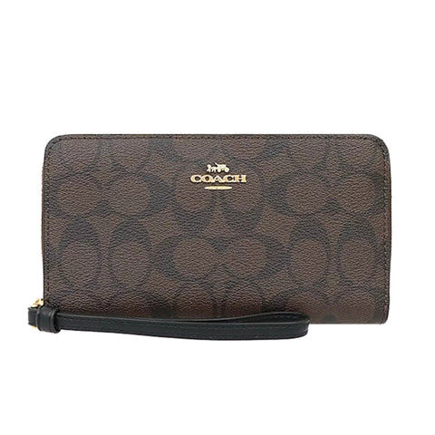 Coach Large Phone Wallet In Signature Coated Canvas Brown