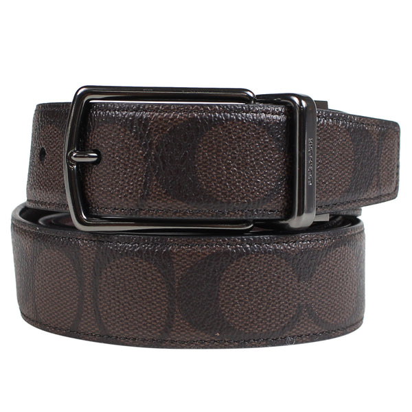 Coach Men's Modern Harness Cut-To-Size Reversible Signature Coated Canvas Belt (F64825) Brown