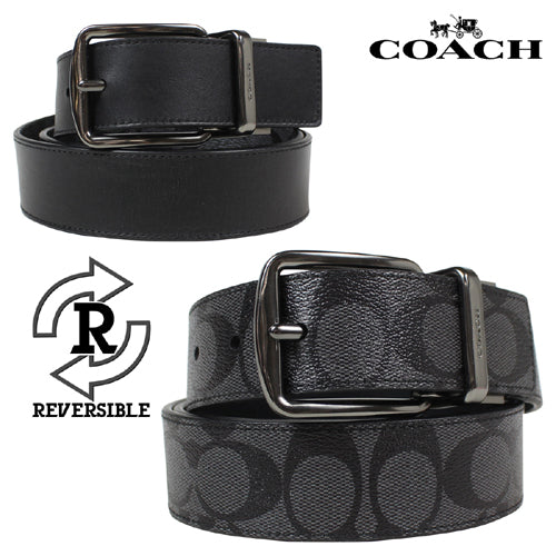 Coach Mens Wide Harness Cut-To-Size Reversible Signature Coated Canvas Belt (F64839) Charcoal/Black